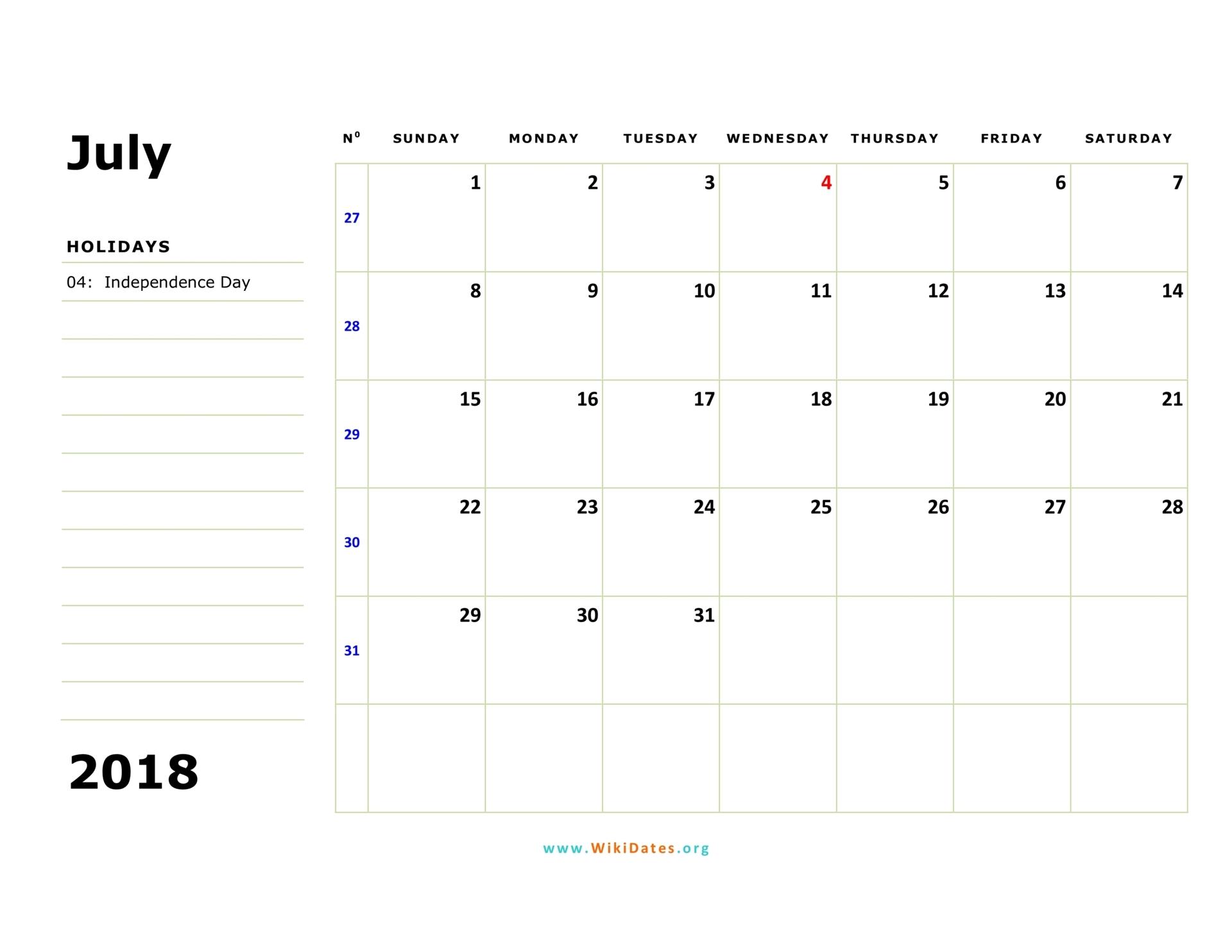 Weekly Calendar July : July calendar wikidates