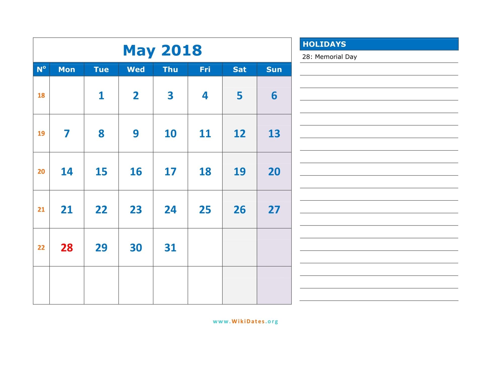 May 2018 Calendar | WikiDates.org