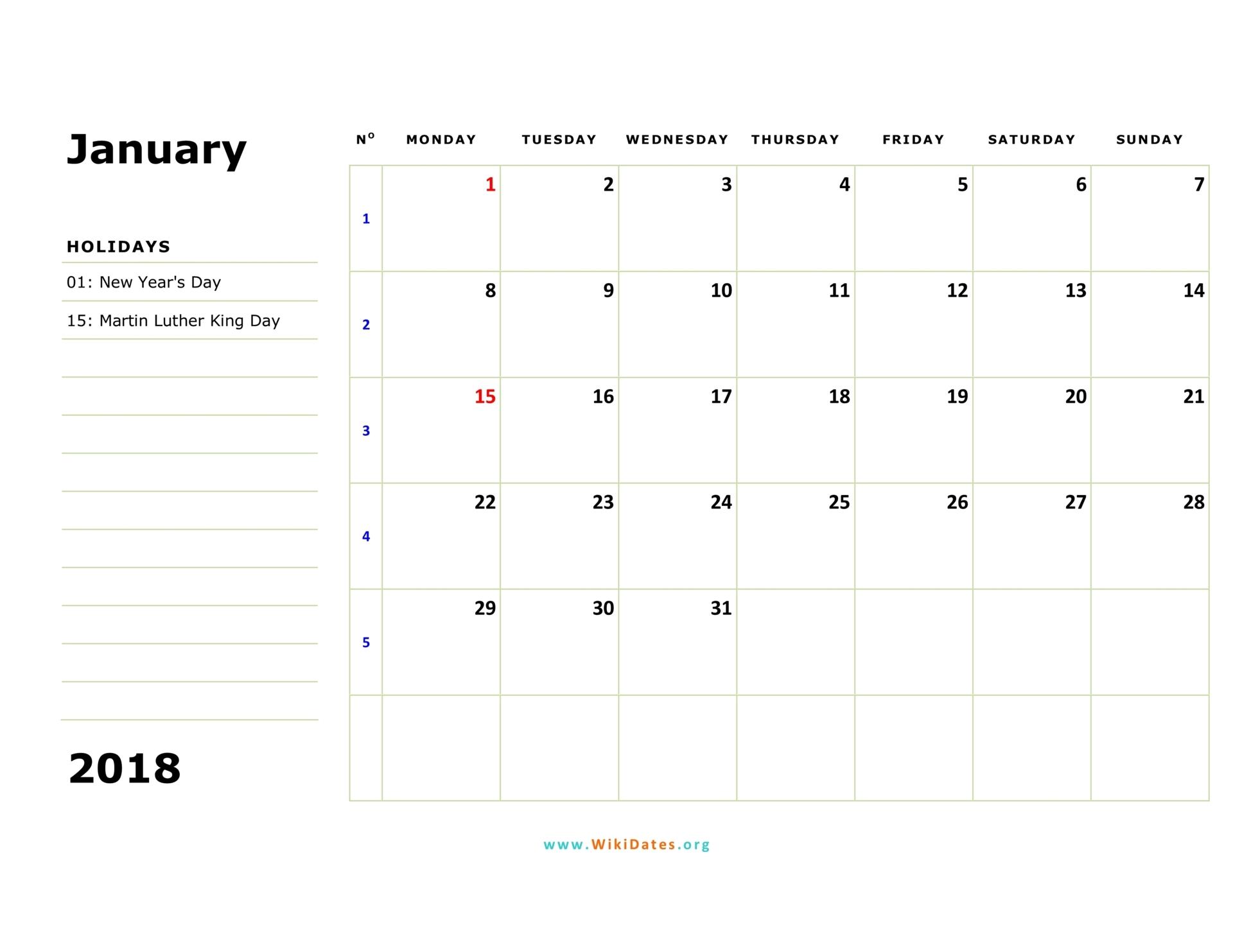 Monthly Planner Calendar Labs : Calendar wikidates