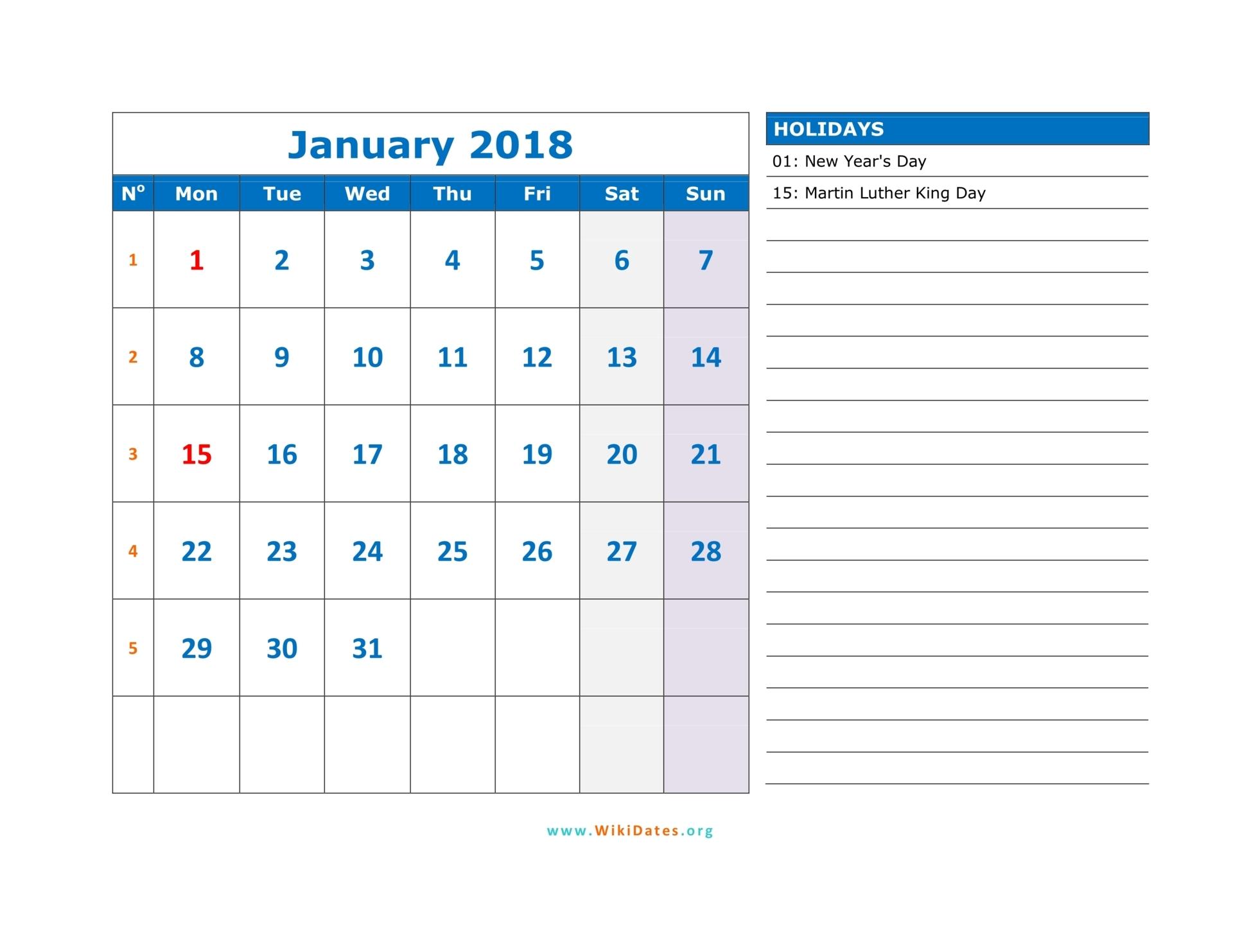monday monthly calendar 2018 03