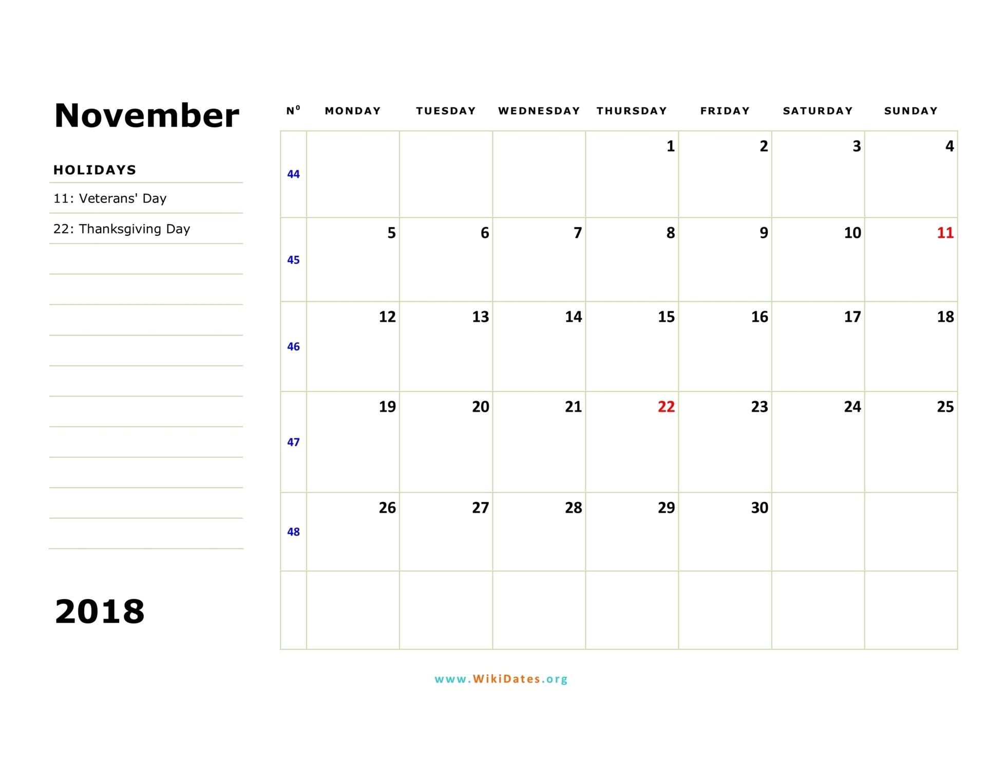 november 2018 calendar monday 02