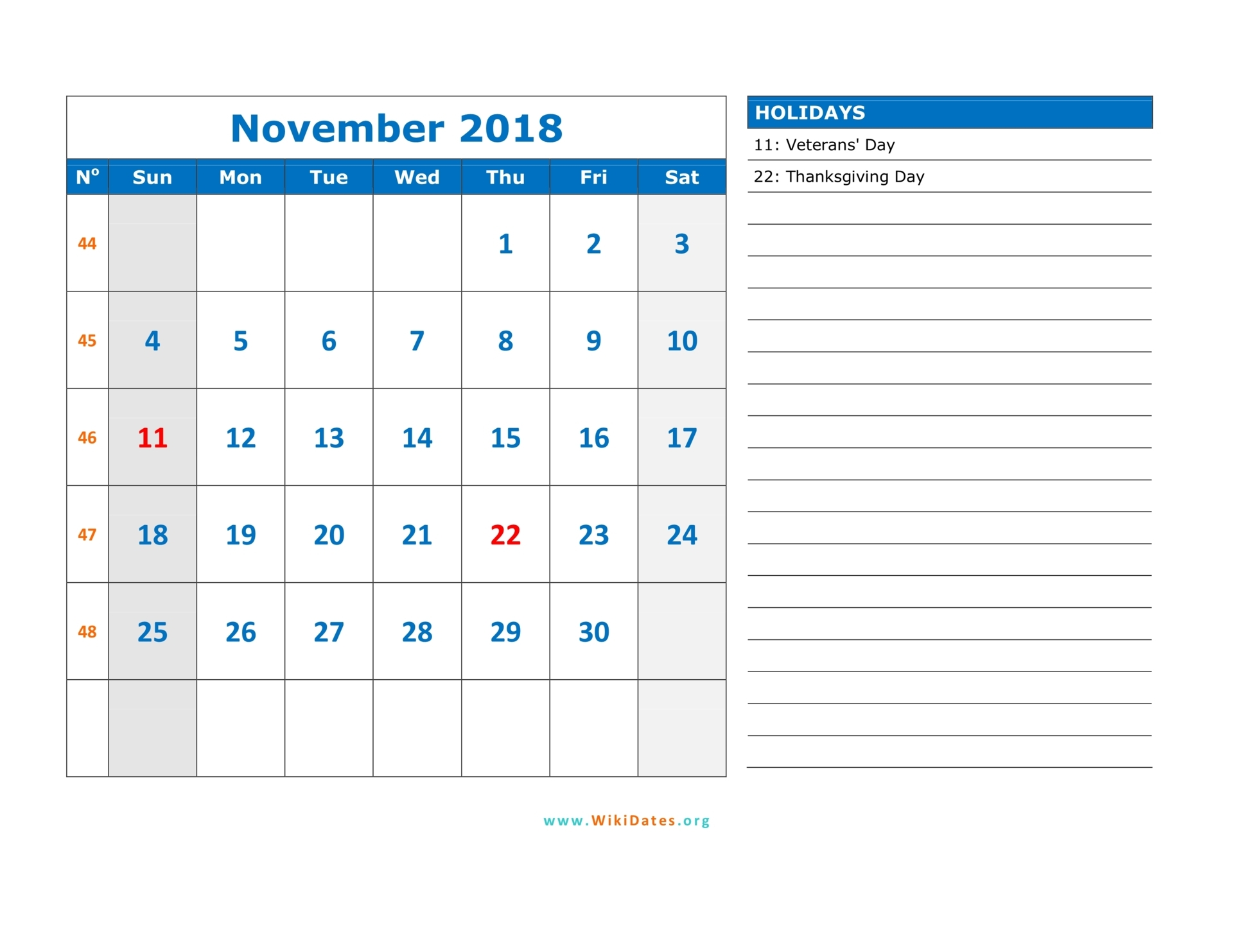November 2018 Calendar | WikiDates.org