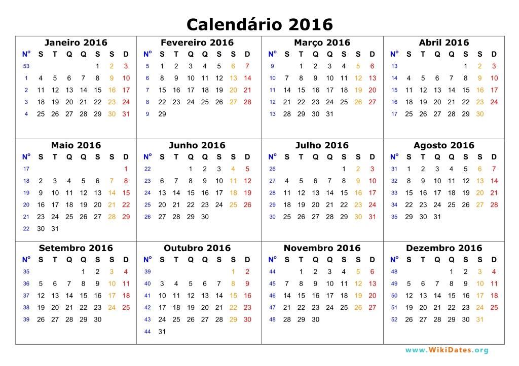 Calendário 2016 | WikiDates.org