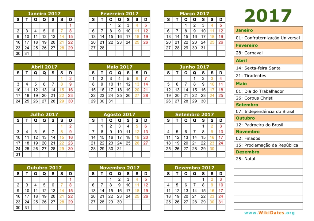 Calendário 2017 | WikiDates.org
