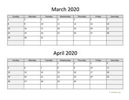 March and April 2020 Calendar