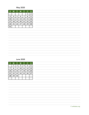 May and June 2020 Calendar with Notes