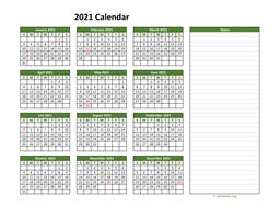 Yearly Printable 2021 Calendar with Notes