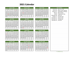 Printable 2021 Calendar with Federal Holidays