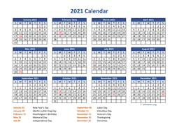 PDF Calendar 2021 with Federal Holidays