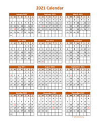 Full Year 2021 Calendar on one page