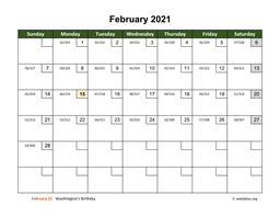 February 2021 Calendar with Day Numbers