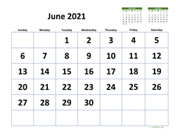 June 2021 Calendar with Extra-large Dates