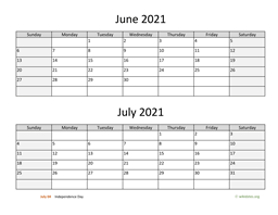 June and July 2021 Calendar