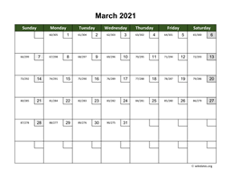 March 2021 Calendar with Day Numbers
