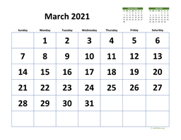 March 2021 Calendar with Extra-large Dates