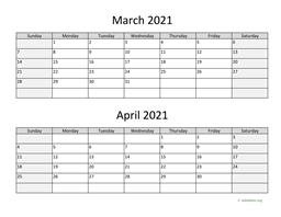 March and April 2021 Calendar