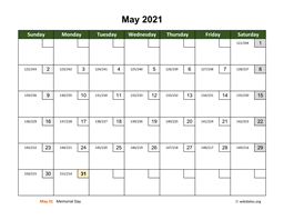 May 2021 Calendar with Day Numbers