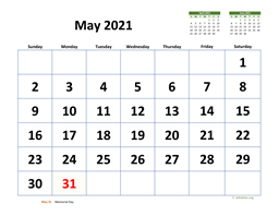 May 2021 Calendar with Extra-large Dates