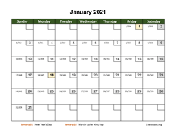 Monthly 2021 Calendar with Day Numbers