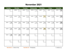 November 2021 Calendar with Day Numbers