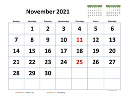 November 2021 Calendar with Extra-large Dates