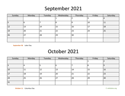 September and October 2021 Calendar