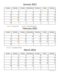 three months 2021 calendar vertical