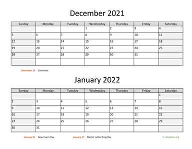 December 2021 and January 2022 Calendar Horizontal