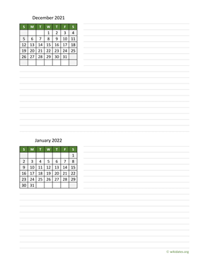 December 2021 and January 2022 Calendar with Notes