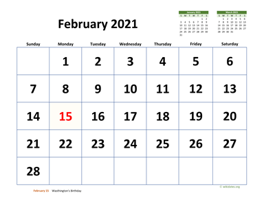 February 2021 Calendar with Extra-large Dates