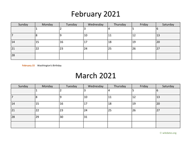 February and March 2021 Calendar Horizontal