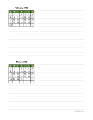 February and March 2021 Calendar with Notes
