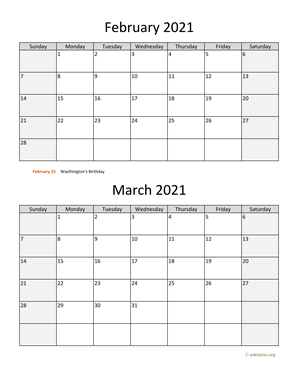 February and March 2021 Calendar Vertical