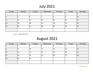 July and August 2021 Calendar Horizontal