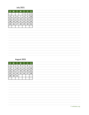 July and August 2021 Calendar with Notes