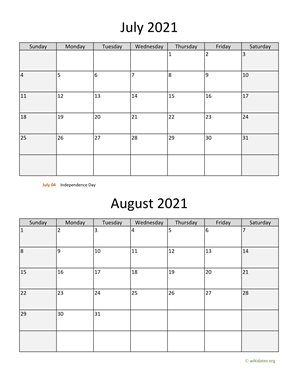 July and August 2021 Calendar Vertical