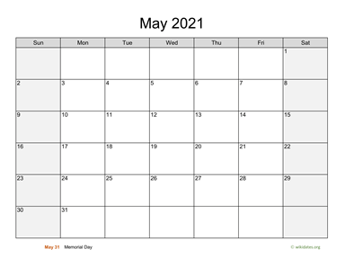 May 2021 Calendar with Weekend Shaded