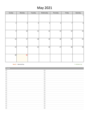 May 2021 Calendar with To-Do List