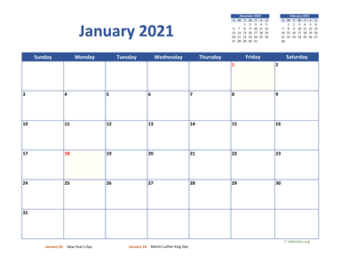 Monthly 2021 Calendar Classic