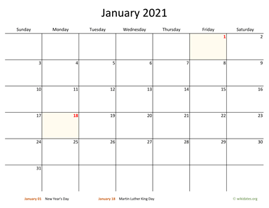 Monthly 2021 Calendar with Bigger boxes