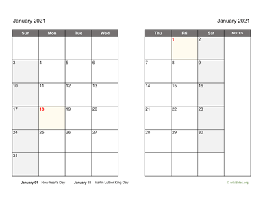 Monthly 2021 Calendar on two pages