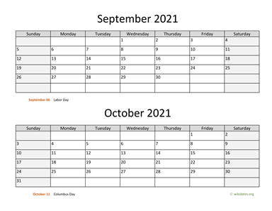September and October 2021 Calendar Horizontal