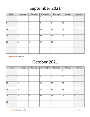 September and October 2021 Calendar Vertical