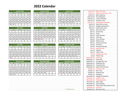 2022 Calendar with US Holidays