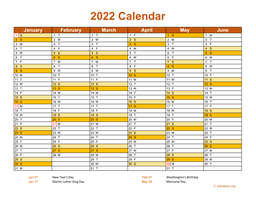 2022 Calendar on 2 Pages, Landscape Orientation