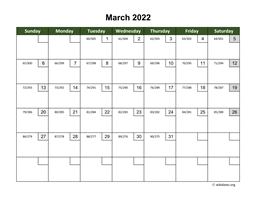 March 2022 Calendar with Day Numbers