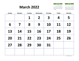 March 2022 Calendar with Extra-large Dates