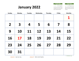 Monthly 2022 Calendar with Extra-large Dates