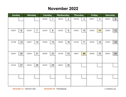 November 2022 Calendar with Day Numbers