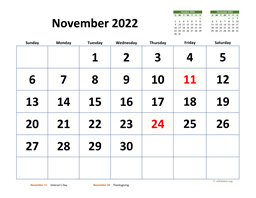 November 2022 Calendar with Extra-large Dates